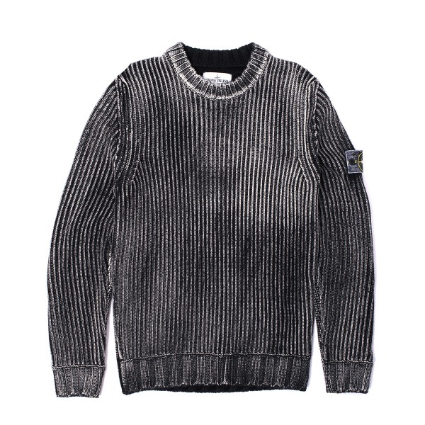 Stone Island Hand Corrosion Crewneck Knit Sweater Firmament