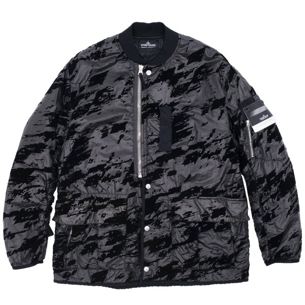 Stone Island Shadow Lucid Flock Drop Pocket Padded Bomber Jacket