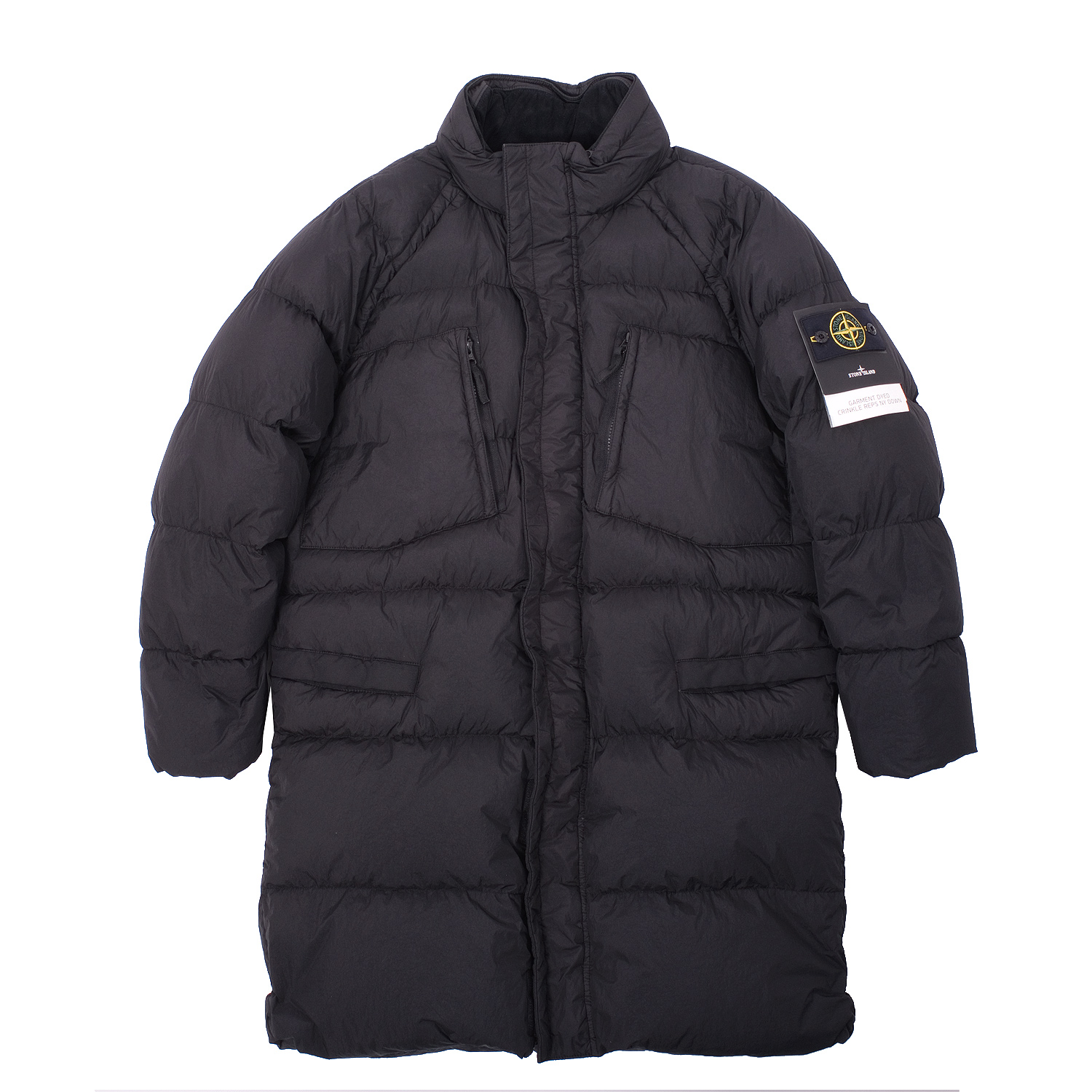 Stone Island Black Down Long Hooded Puffy Coat