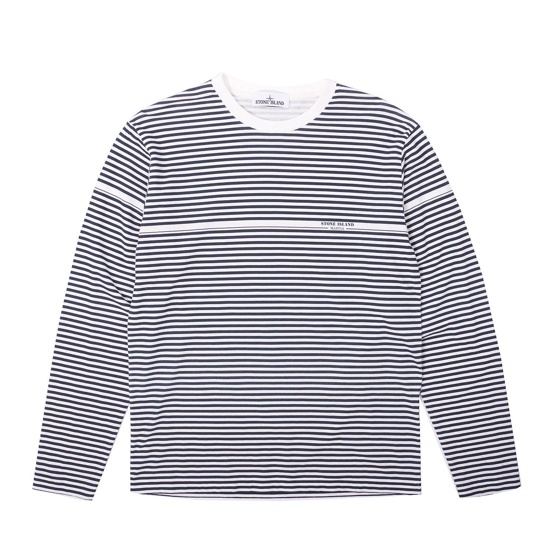 stone island marina striped longsleeve t shirt firmament