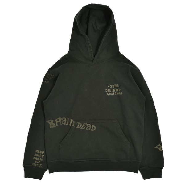 Brain Dead Tonal Type Print Hooded Sweatshirt