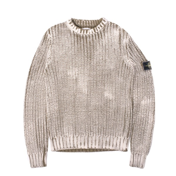 Stone Island Hand Corrosion Knit Crewneck Sweater Firmament