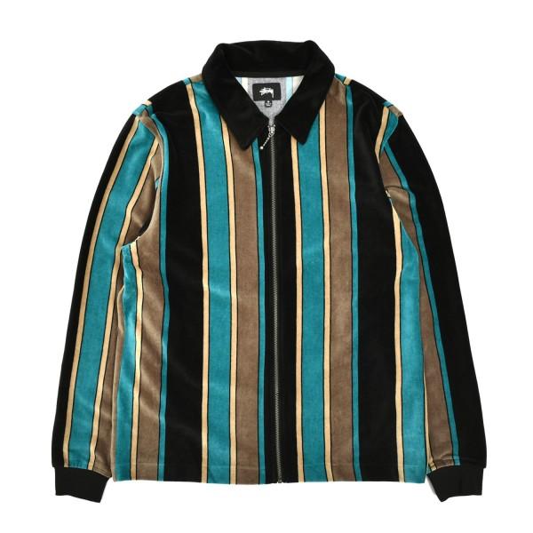 Stussy Roland Stripe Longsleeve Zip Polo Sweater